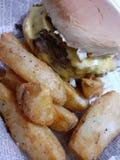 Картофель фри l еды гамбургера сыра очень вкусный стоковое изображение