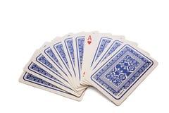 10 карточек и один красного туз Стоковое Изображение RF