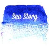 Карточка акварели вектора с волнами моря Стоковые Изображения