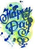 Карточка акварели день счастливый карточка 2007 приветствуя счастливое Новый Год Поздравление Литерность акварели Стоковые Изображения RF