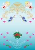 карточка ангелов цветет картины сердец Стоковое Фото