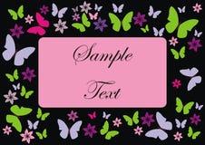 карточка бабочек цветет рамка Стоковые Фотографии RF