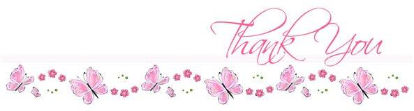 карточка бабочки благодарит вас Стоковое Фото