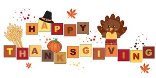 Карточка благодарения с индюком стоковое изображение
