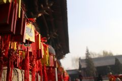 Карточка благословением в китайском виске стоковое изображение rf