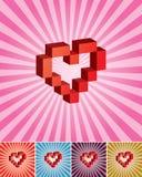 карточка Валентайн сердца пиксела 3D Стоковая Фотография