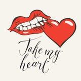 Карточка валентинки с надписью принимает мое сердце Стоковое Изображение