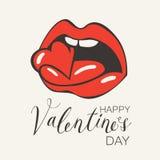 Карточка валентинки с сердцем человеческого рта сдерживая Стоковые Фотографии RF
