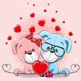 Карточка валентинки с собаками любовников бесплатная иллюстрация