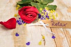 Карточка, ваучер или талон для Relax и красная роза подарка на деревенской таблице стоковые изображения rf