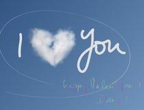 Карточка валентинки облака сердца Стоковая Фотография