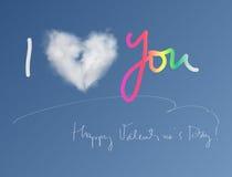 Карточка валентинки облака сердца Стоковые Изображения RF