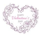 Карточка валентинки с венком цветка в форме сердца сеть сбора винограда шаблона страницы приветствию карточки предпосылки всеобща Стоковые Изображения