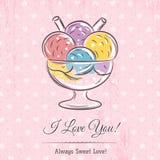 Карточка валентинки с мороженым и текстом желаний Стоковая Фотография