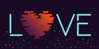 Карточка валентинки слова влюбленности космическая Стоковое Изображение RF