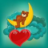 Карточка валентинки с плюшевым медвежонком на рамке луны и сердца Стоковое Изображение RF