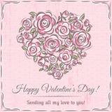 Карточка валентинки с сердцем цветков и желания отправляют СМС Стоковые Изображения RF