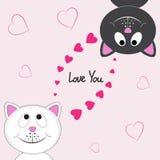 Карточка валентинки с 2 счастливыми котами любовников Стоковая Фотография RF