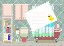 Карточка вектора ванной комнаты Стоковое Изображение