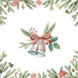 Карточка вектора рождества акварели с колоколом и елью разветвляет Стоковые Изображения RF