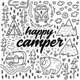 Карточка вектора счастливого туриста нарисованная рукой Печать шаржа располагаясь лагерем иллюстрация штока