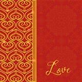 Карточка вектора с декоративными сердцами Предпосылка вектора золотая Et Стоковые Изображения RF