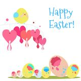 Карточка вектора с птицей и пасхальными яйцами Стоковое Изображение