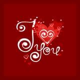 Карточка вектора с сердцами и стильной каллиграфией Стоковая Фотография