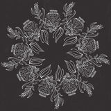 Карточка вектора флористическая романтичная Вручите вычерченный луг эскиза с травой, цветками Стоковое фото RF