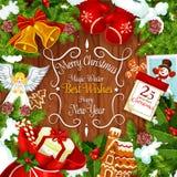 Карточка венка рождества с праздничным подарком Нового Года иллюстрация штока