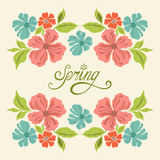 Карточка весны винтажная с flowres Иллюстрация штока