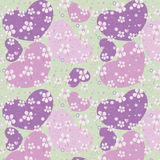 Карточка весны с цветками и сердцами Справочная информация Стоковое Изображение RF