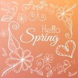 Карточка весны с элементами цветка на розовой предпосылке Стоковые Фото