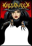 Карточка ведьмы хеллоуина Стоковое фото RF