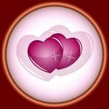 Карточка, виньетка, пара сердец Стоковое Изображение RF