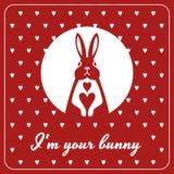 Карточка влюбленности с зайчиком и сердцами иллюстрация штока