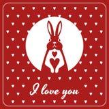 Карточка влюбленности с зайчиком и сердцами Стоковые Фотографии RF