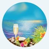Карточка восхода солнца тропическая с вином, вектором Стоковая Фотография RF