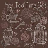 Карточка времени чая установленная Стоковые Фото
