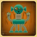 Карточка в ретро стиле с роботом Стоковая Фотография