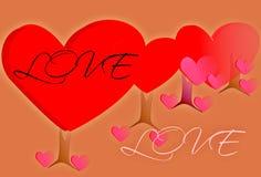 Карточка влюбленности дерева Стоковые Фото