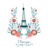 Карточка влюбленности концепции с Эйфелевой башней и флористическое Стоковое Изображение