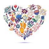 Карточка влюбленности с флористическим букетом Иллюстрация вектора дня валентинки с формой сердца Стоковые Фотографии RF