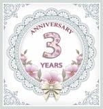 Карточка годовщины 3 года Стоковая Фотография