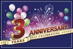 Карточка годовщины 3 года Стоковая Фотография RF
