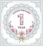 Карточка годовщины 1 год Стоковые Фото