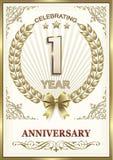 Карточка годовщины 1 год Стоковая Фотография RF