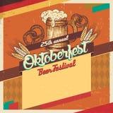 Карточка года сбора винограда фестиваля пива Oktoberfest Стоковое Изображение RF