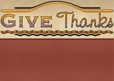 карточка дает спасибо приветствию Стоковое фото RF