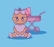 Карточка детского душа с маленькой девочкой с тележкой бесплатная иллюстрация